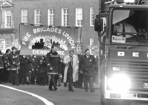Ken Cameron marching with his members in the FBU.