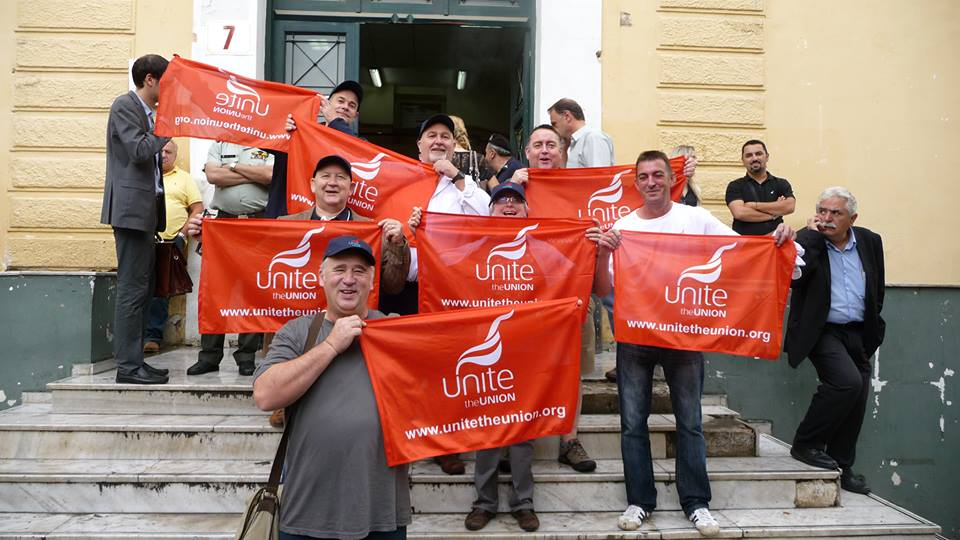 Unite delegates demonstrating support for Greek Metal Workers at the Athens Courthouse. Photo: Chris Bond.