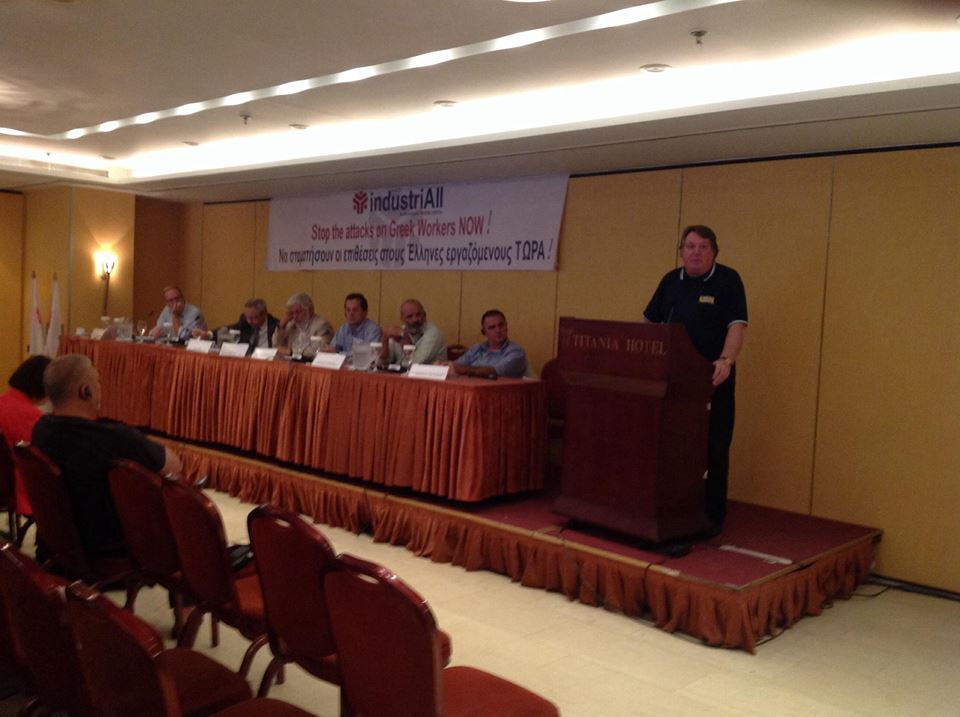 Speaking at the Greek Workers Solidarity Conference, Athens, September 30th. Photo: Chris Bond