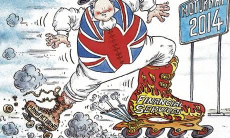 David Simonds cartoon of John Bull on rollerskates