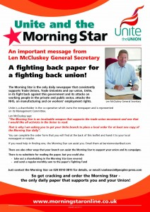 Morning Star - Unite leaflet