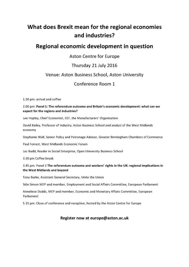Post-Brexit event on regional economy 14.07.16