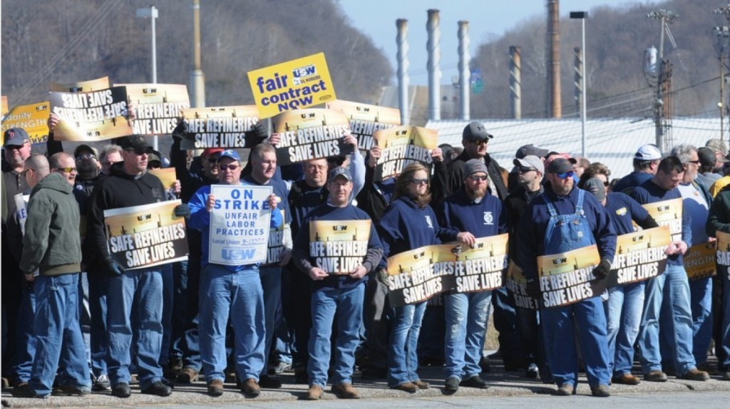 Striking oil workers at Marathon Petroleum refinery in Catlettsburg, Kentucky - now back at work!