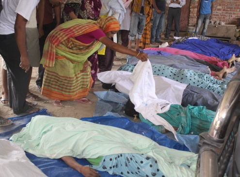 Bodies of those killed in the Rana Plaza Building Collapse